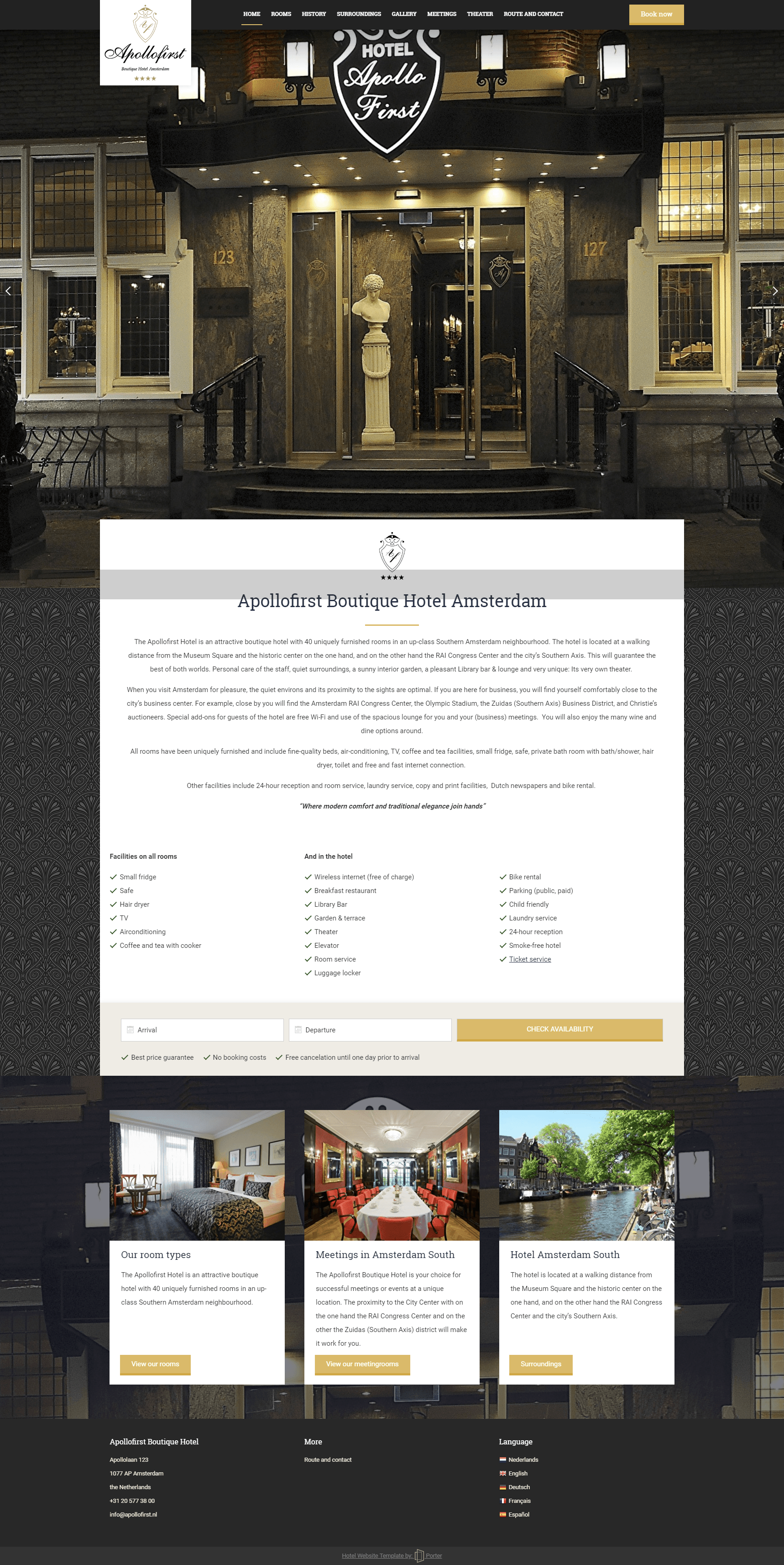 Apollo First Hotel Porter Premium Template Based Hotel Websites